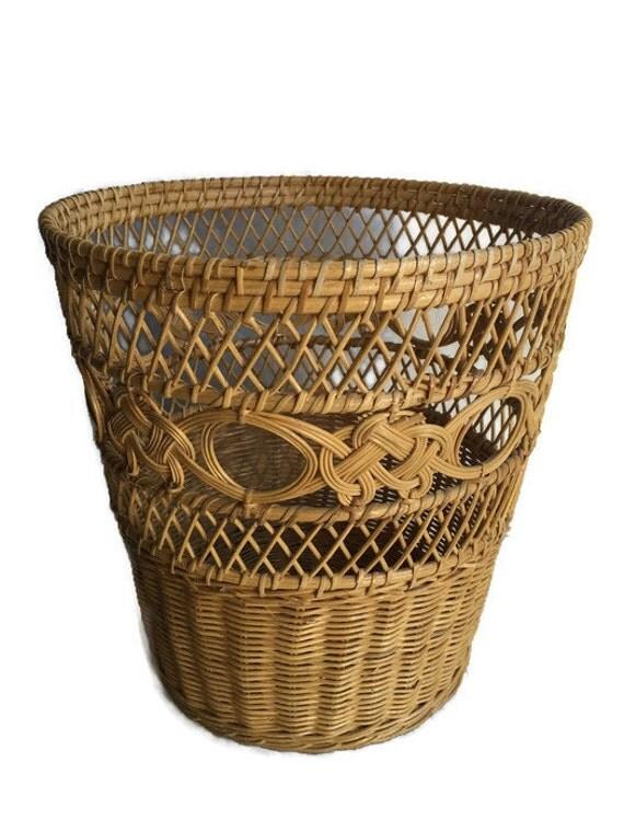 Vintage rattan waste paper basket or pot planter bohemian - Rattan waste basket ...