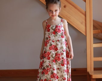 Flower girl dress white red flowers linen special occasion birthday wedding baby roses party