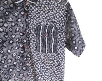 80s Black Patterned Blouse | Patterned Shirt