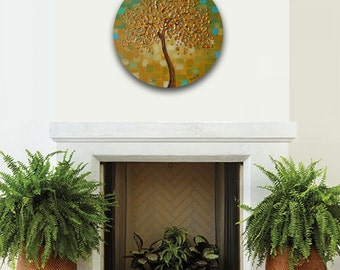 Gold Tree Painting, Original Abstract Painting, Palette Knife Painting, 20 inch Round Modern Wall Art