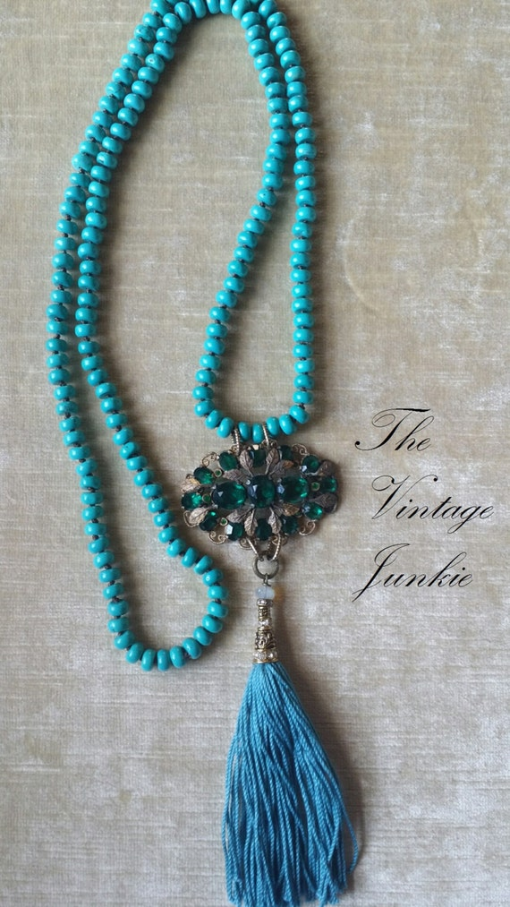 The Vintage Junkie...Handmade Beaded Turquoise Layering Necklace with Repurposed Emerald Glass Vintage Brooch and Aqua Tassel