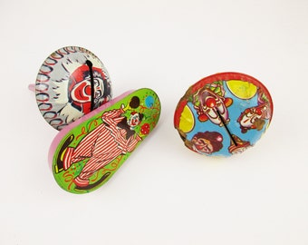 Clown Noise-makers - Vintage 1940s or '50s Metal Clankers - Tin With Lithographed Colors - Two Round and One Oblong - 30