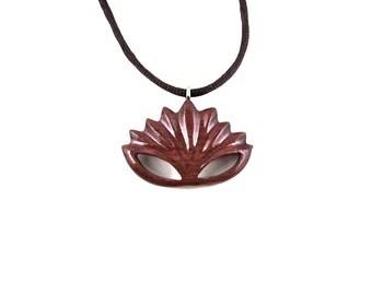 Lotus Necklace, Lotus Pendant, Flower Pendant, Flower Necklace, Wood Lotus Necklace, Flower Jewelry, Lotus Jewelry, Yoga Jewelry