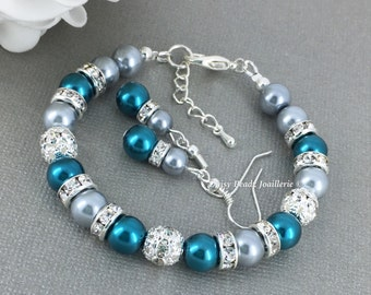 Grey and Teal Pearl Bracelet, Bridesmaid Gift, Pearl Jewelry, Pearl Bracelet, Bridesmaid Bracelet, Bridesmaids Jewelry, Teal and Grey