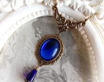 Cobalt blue necklace gothic victorian necklace antique gold ornate necklace sapphire glass stone necklace cobalt blue jewel necklace