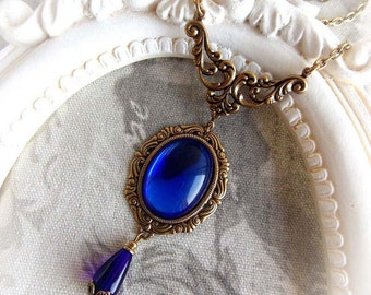 Cobalt blue necklace gothic victorian necklace antique gold ornate necklace sapphire glass stone necklace cobalt blue jewel necklace