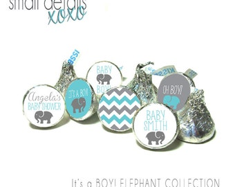 ELEPHANT Baby Shower stickers ~ for Hershey's Kisses® Chocolate - Baby Shower