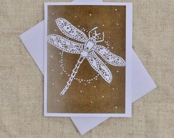 Dragonfly Flight- Blank Greeting Card, Cut paper