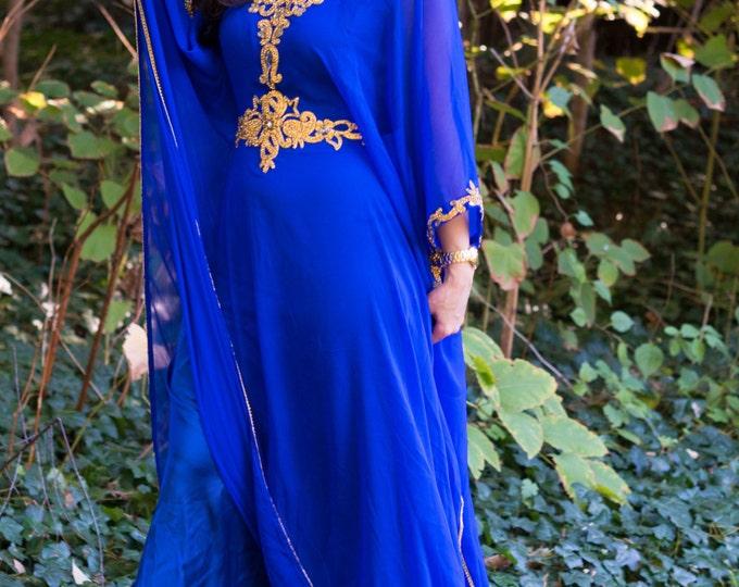 "Yara Yosif ""Hanoof"" - Royal blue with Gold belted kaftan caftan dress eid henna abaya"