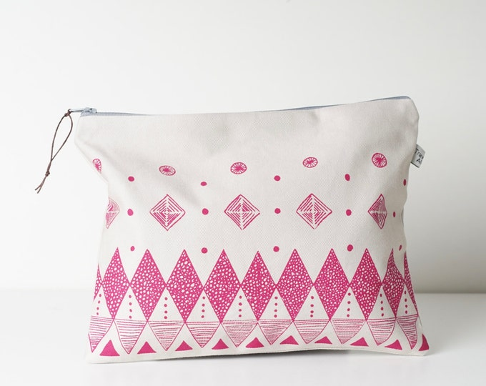 Large Zipper Pouch - Screen print in Pink