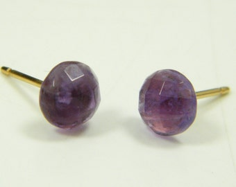 Amethyst earrings, Post earrings, Amethyst studs, Purple earrings, Small post earrings, 6 mm stud earrings, Gem stone earrings, Minimalist