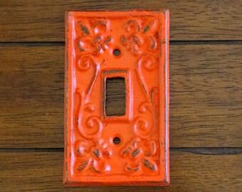Light Switch Cover / Cast Iron Switchplate / Fleur de lis / Fire (Reddish) Orange or Pick Color / Single Light Switch Plate /