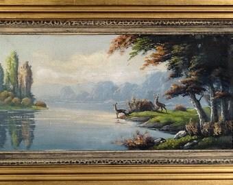 Superb ca.1945 Deer Mountains & Lake Impressionist Painting Oil/Canvas/Frame Signed
