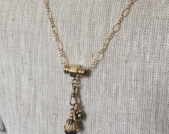 Antique Victorian Watch Chain Slide w/ Wax Seal Fob & Opal charm  Gold Filled Chain Necklace   @CELESTEANDCOGEMS