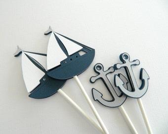 12 Gray Nautical Cupcake Toppers Nautical Cupcake Toppers Sailboat Anchor Nautical Baby Shower Nautical Birthday • Set of 12