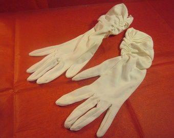 Ladies Pearl White Evening Gloves Vintage Mid Length Formal Wear
