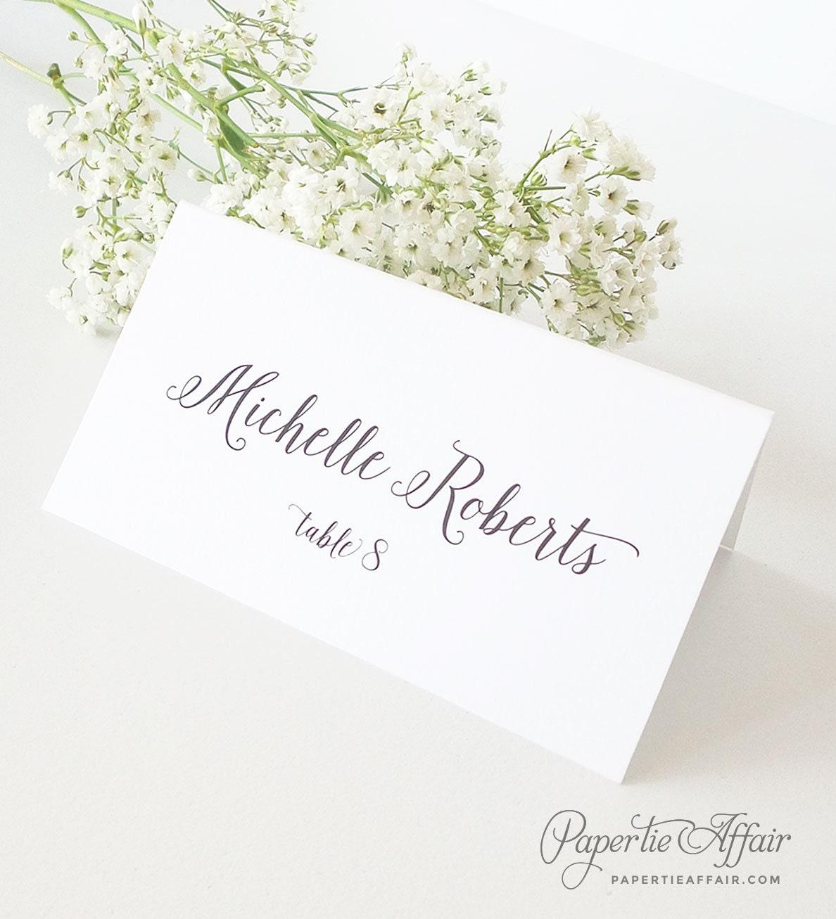 Place Cards Wedding Calligraphy Escort Card Printed Wedding
