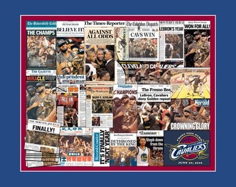 Cleveland Cavaliers 2016 World Championship Newspaper Collage - 8x10 matted print.