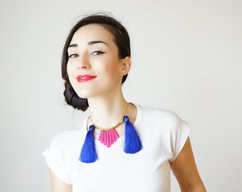 Tassel Necklace Tassel Jewelry Statement Necklace Maroon Necklace Designer Necklace OOAK Necklace For Her Fashion Accessory / MARUNA