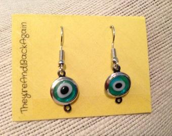 Silver Evil Eye Earrings - Teal