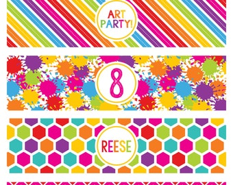 Art Party Water Bottle Labels - Art Birthday Party Drink Wrappers - Paint Party Water Bottle Labels - Printable Water Bottle Wrappers