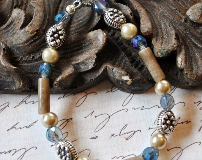 Petoskey Stone Bracelet with Petoskey stone beads, blue crystals, Bali sterling silver beads, pearls,  Up North bracelet, Michigan