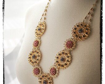 "Statement Necklace Set: Elaborate Gold Filigree and Swarovski Crystal Necklace & Earrings ""Reverie"""