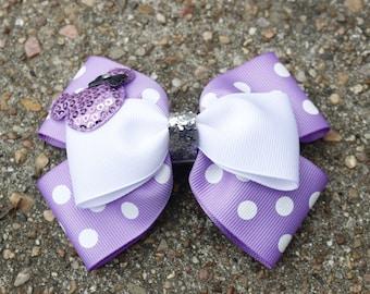 Disney Minnie Mouse Birthday Party Double Stacked Lavender on White Polka Dot Pinwheel Boutique Hair Bow