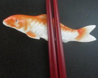 Japanese Hashioki Chopstick Holder Vintage Carp Koi
