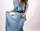 Baby Blue Fringe Maxi Dress