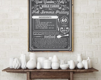 Chalkboard Recipe Art Print -Printable Recipe Chalkboard- Family Recipe - Kitchen Art - Editable Instant Download and Edit with Adobe Reader