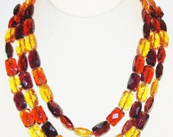 3pc Necklace Set - Glass Beads -  Amber, Topaz and Purple - T348