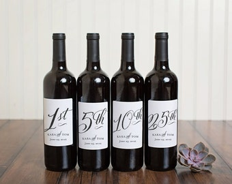 Anniversary Wine Labels \\ Set of 4