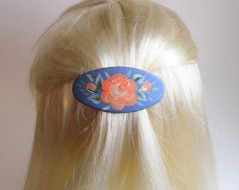 Blue Oval Hair Barrette - Hand-painted Coral Rose - Flower Hair Accessory - French Style Clip