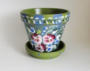 Violet Pansies Flower Pot - 5 Inch Blue and Green Hand-painted Floral Terra Cotta Planter - Pansy Bouquet