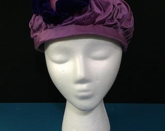 1960s Vintage Turban Topper Beret Mod Hat