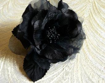 Black Rose Millinery Flower Silk Organdy Chic Hat Corsage Fascinator 3FN0044BK