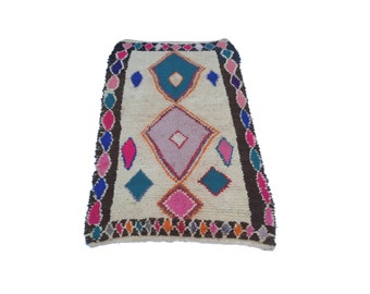 """89""""X45"""" Vintage Moroccan rug woven by hand from scraps of fabric / boucherouite / boucherouette"""