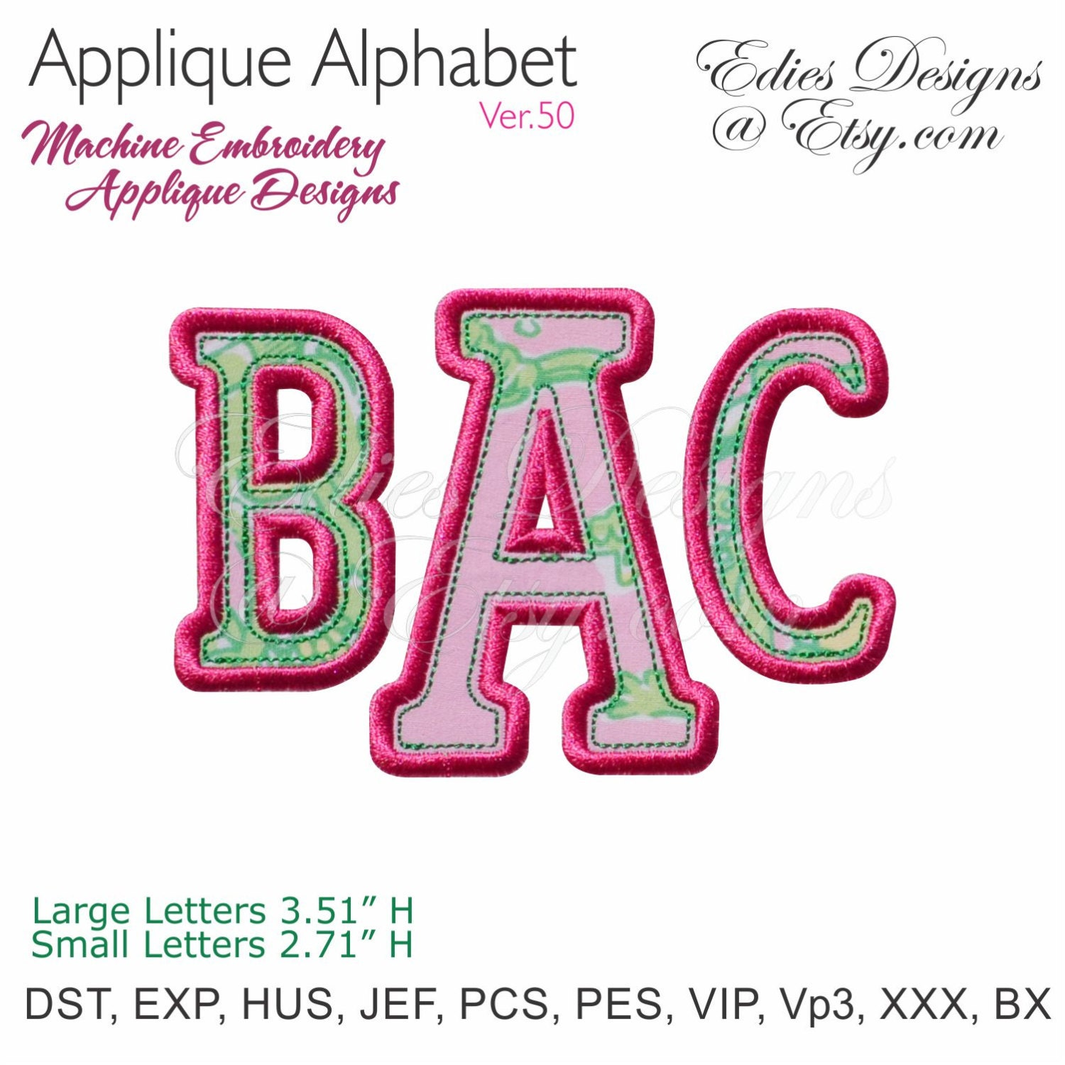 Applique alphabet machine embroidery designs monogram
