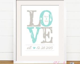 Personalized Art Print - LOVE - Wedding Gift - Anniversary Gift - Bridal Shower Gift - Engagement Gift