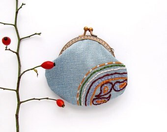 Embroidered coin purse, denim purse, blue jeans purse with paisley embroidered and kisslock frame, OOAK gift
