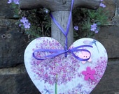 Purple and Pink Allium flower Decoupaged Wood Hanging Heart