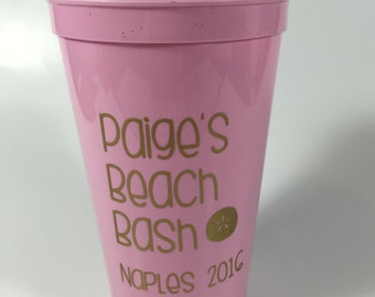 Beach Bachelorette - Party Cups - Personalized Party Favors - Bachelorette Party - Beach Bach - Beach Party Favors - Bridesmaid Gift
