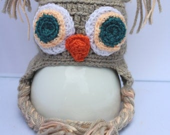Baby owl hat in grey silver / new born owl hat / toddler owl hat / baby shower gift / merino wool
