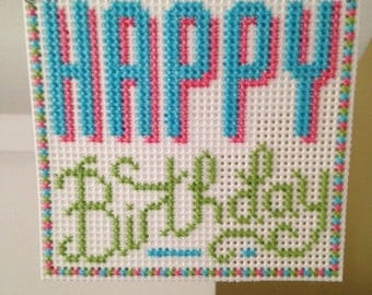 "New ""Happy Birthday"" Cross Stitch Christmas Ornament"