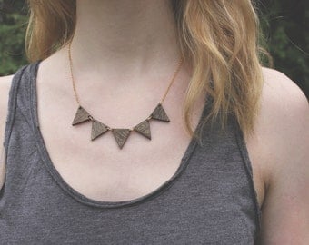 Triangle Wood Necklace //  Walnut Bunting Necklace // Pennant Necklace // Wood and Gold Necklace // Natural Necklace