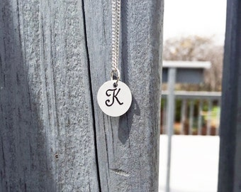"Hand Stamped Necklace | Single Initial | 1/2"" Charm"