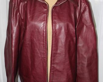 Vintage Banana Republic Zip Up Lined Oxblood Leather Jacket