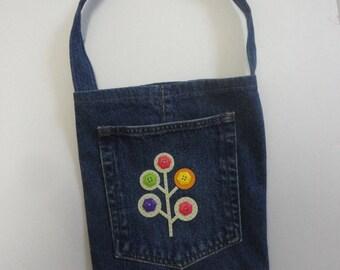 Denim Tote, Recycled Denim Tote Bag, Denim Purse, Denim Carry All, Repurposed Denim Bag, School Bag, Lunch Tote, Denim Lunch Bag