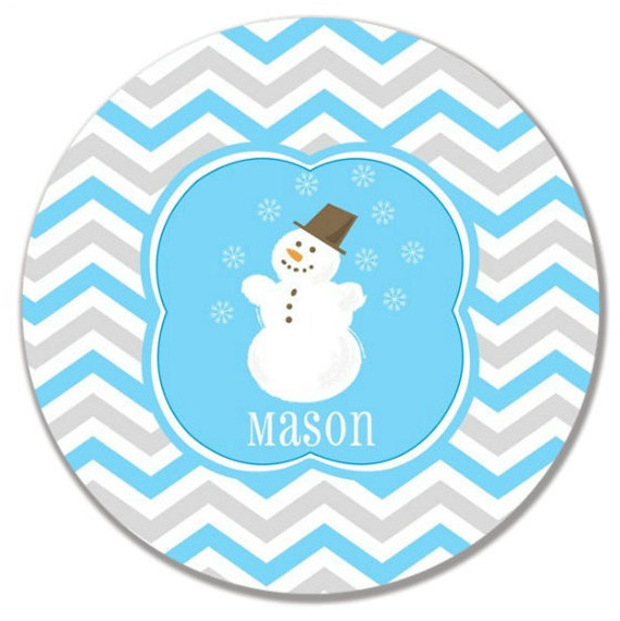 Personalized Kids Dinnerware - Christmas Snowman Plate - Child Dinner Plate - Your Choice of Plate, Bowl or Set
